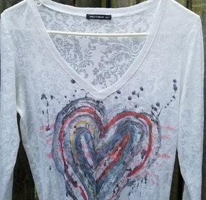 Nally & Millie Tops - Nally & Millie Burnout Heart Top Size Large